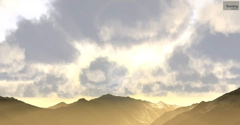 Crepuscular rays, god rays, or rays of light from the sun behind SilverLining's 3D clouds.