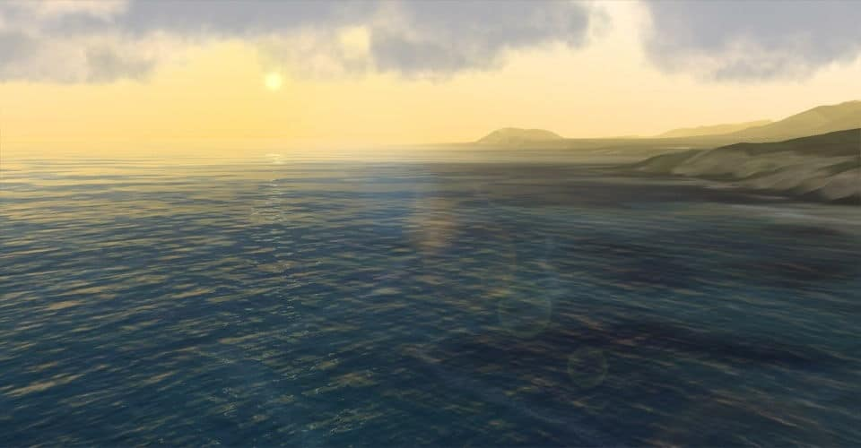 Smooth blending of Triton's 3D ocean with a coastline, with SilverLining skies and lens flare.